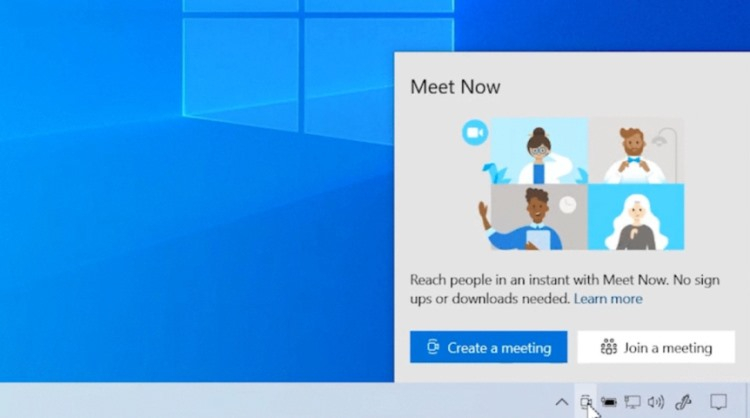 Microsoft добавила Skype Meet Now на панель задач Windows 10